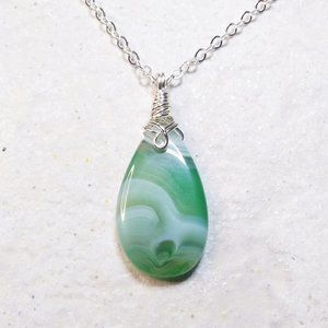 """NEW! Green Banded Teardrop Agate Pendant w. 20"""" Chain - Perfect for Fall"""